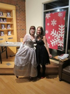 Me with Vanessa Brannan, cosplayer, at the Cinder launch party.
