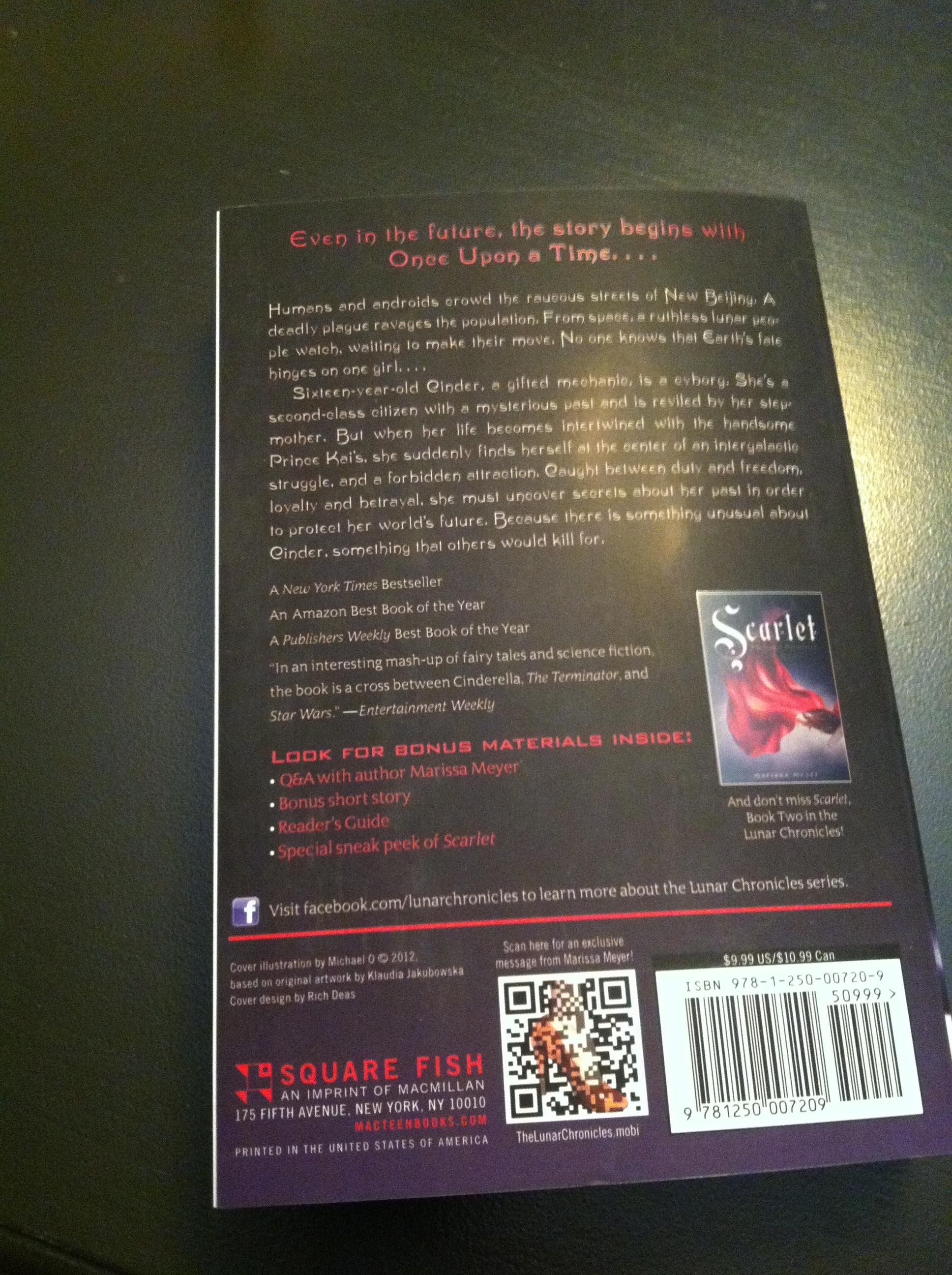 cinder paperback back cover marissa meyer