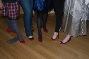 Red shoes at the Cinder launch party.